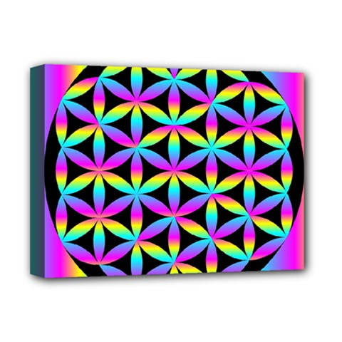 Flower Of Life Gradient Fill Black Circle Plain Deluxe Canvas 16  X 12   by Simbadda