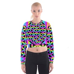 Flower Of Life Gradient Fill Black Circle Plain Women s Cropped Sweatshirt