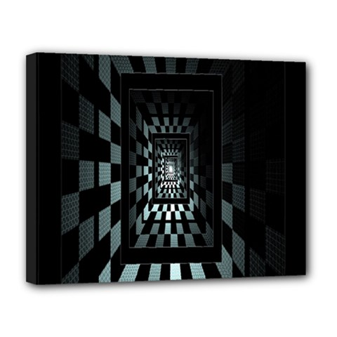 Optical Illusion Square Abstract Geometry Canvas 14  X 11  by Simbadda