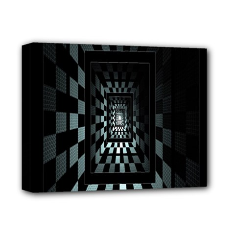 Optical Illusion Square Abstract Geometry Deluxe Canvas 14  X 11  by Simbadda