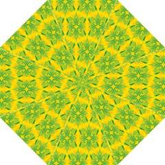 Floral Flower Star Sunflower Green Yellow Hook Handle Umbrellas (large) by Alisyart