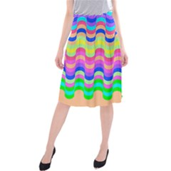 Dna Early Childhood Wave Chevron Woves Rainbow Midi Beach Skirt by Alisyart