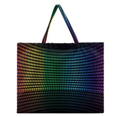Abstract Multicolor Rainbows Circles Zipper Large Tote Bag