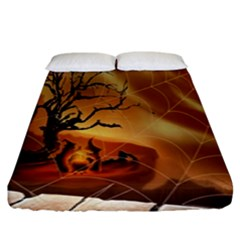 Digital Art Nature Spider Witch Spiderwebs Bricks Window Trees Fire Boiler Cliff Rock Fitted Sheet (king Size) by Simbadda