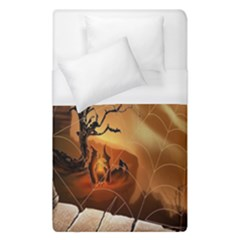 Digital Art Nature Spider Witch Spiderwebs Bricks Window Trees Fire Boiler Cliff Rock Duvet Cover (single Size) by Simbadda