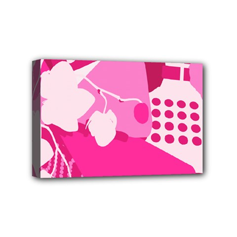 Flower Floral Leaf Circle Pink White Mini Canvas 6  X 4  by Alisyart