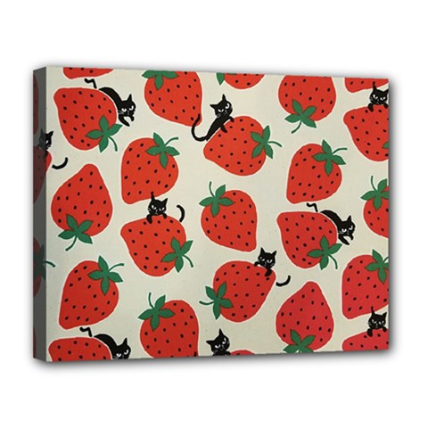 Fruit Strawberry Red Black Cat Canvas 14  X 11  by Alisyart