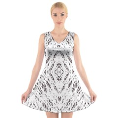 Pattern Monochrome Terrazzo V Neck Sleeveless Skater Dress