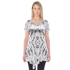 Pattern Monochrome Terrazzo Short Sleeve Tunic  by Simbadda