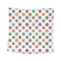 Flowers Color Artwork Vintage Modern Star Lotus Sunflower Floral Rainbow Square Tapestry (small) by Alisyart