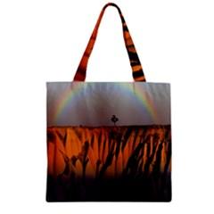 Rainbows Landscape Nature Zipper Grocery Tote Bag by Simbadda