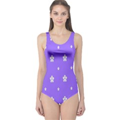 Light Purple Flowers Background Images One Piece Swimsuit by Alisyart