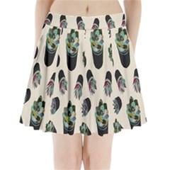 Succulent Plants Pattern Lights Pleated Mini Skirt by Simbadda