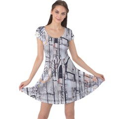 Cityscapes England London Europe United Kingdom Artwork Drawings Traditional Art Cap Sleeve Dresses by Simbadda