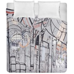 Cityscapes England London Europe United Kingdom Artwork Drawings Traditional Art Duvet Cover Double Side (california King Size) by Simbadda