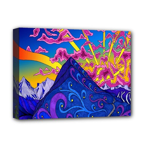 Psychedelic Colorful Lines Nature Mountain Trees Snowy Peak Moon Sun Rays Hill Road Artwork Stars Deluxe Canvas 16  X 12   by Simbadda