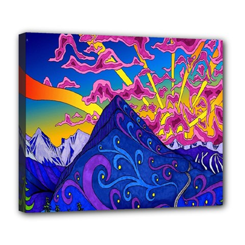 Psychedelic Colorful Lines Nature Mountain Trees Snowy Peak Moon Sun Rays Hill Road Artwork Stars Deluxe Canvas 24  X 20   by Simbadda
