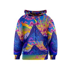 Psychedelic Colorful Lines Nature Mountain Trees Snowy Peak Moon Sun Rays Hill Road Artwork Stars Kids  Zipper Hoodie by Simbadda