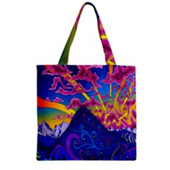 Psychedelic Colorful Lines Nature Mountain Trees Snowy Peak Moon Sun Rays Hill Road Artwork Stars Zipper Grocery Tote Bag by Simbadda