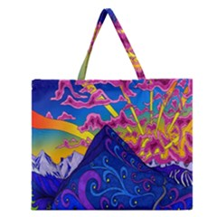 Psychedelic Colorful Lines Nature Mountain Trees Snowy Peak Moon Sun Rays Hill Road Artwork Stars Zipper Large Tote Bag by Simbadda