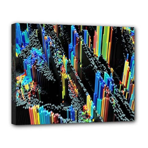 Abstract 3d Blender Colorful Canvas 14  X 11  by Simbadda
