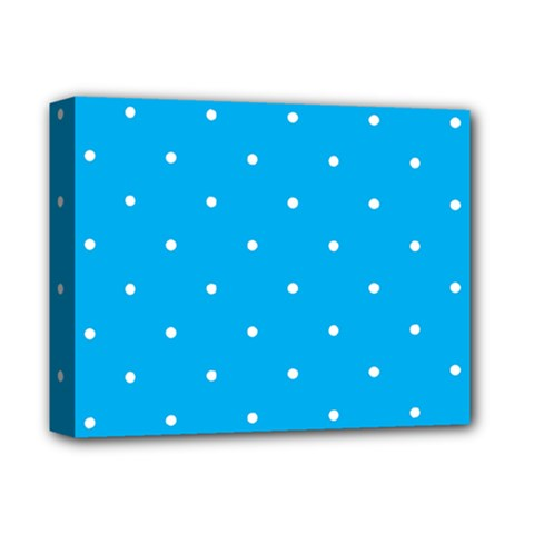Mages Pinterest White Blue Polka Dots Crafting Circle Deluxe Canvas 14  X 11  by Alisyart