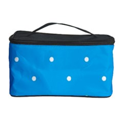Mages Pinterest White Blue Polka Dots Crafting Circle Cosmetic Storage Case by Alisyart