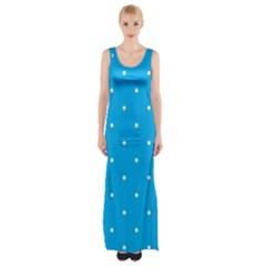 Mages Pinterest White Blue Polka Dots Crafting Circle Maxi Thigh Split Dress by Alisyart