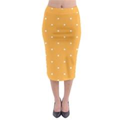 Mages Pinterest White Orange Polka Dots Crafting Midi Pencil Skirt by Alisyart