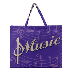 Music Flyer Purple Note Blue Tone Zipper Large Tote Bag by Alisyart