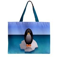 Penguin Ice Floe Minimalism Antarctic Sea Zipper Mini Tote Bag by Alisyart