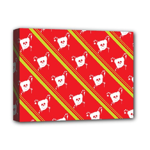 Panda Bear Face Line Red Yellow Deluxe Canvas 16  X 12   by Alisyart