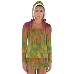 Abstract Trippy Bright Melting Women s Long Sleeve Hooded T Shirt