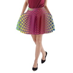 Abstract Circle Colorful A Line Pocket Skirt