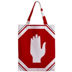 Road Sign Stop Hand Finger Zipper Classic Tote Bag by Alisyart