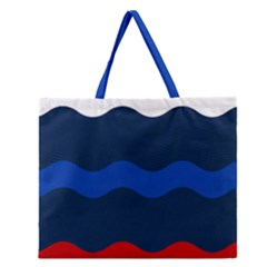 Wave Line Waves Blue White Red Flag Zipper Large Tote Bag by Alisyart