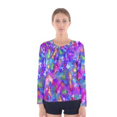 Abstract Trippy Bright Sky Space Women s Long Sleeve Tee