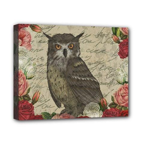 Vintage Owl Canvas 10  X 8  by Valentinaart