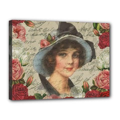 Vintage Girl Canvas 16  X 12  by Valentinaart