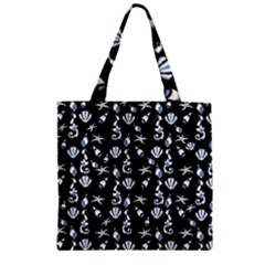 Seahorse Pattern Zipper Grocery Tote Bag by Valentinaart