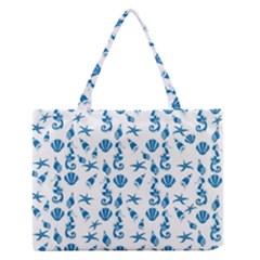 Seahorse Pattern Medium Zipper Tote Bag by Valentinaart