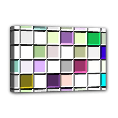 Color Tiles Abstract Mosaic Background Deluxe Canvas 18  X 12   by Simbadda