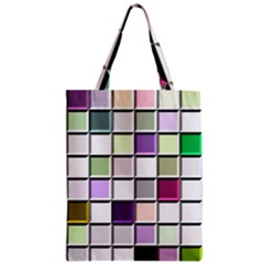 Color Tiles Abstract Mosaic Background Zipper Classic Tote Bag by Simbadda