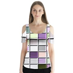 Color Tiles Abstract Mosaic Background Butterfly Sleeve Cutout Tee  by Simbadda