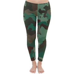 Camouflage Pattern A Completely Seamless Tile Able Background Design Classic Winter Leggings by Simbadda