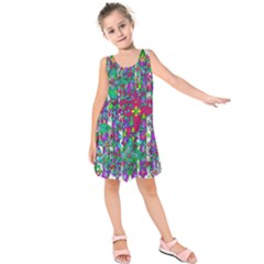 Sunny Roses In Rainy Weather Pop Art Kids  Sleeveless Dress by pepitasart