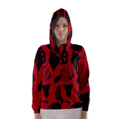Congregation Of Floral Shades Pattern Hooded Wind Breaker (women) by Simbadda