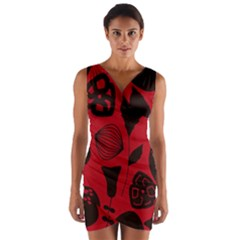 Congregation Of Floral Shades Pattern Wrap Front Bodycon Dress by Simbadda