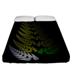 Drawing Of A Fractal Fern On Black Fitted Sheet (king Size)
