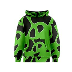 Black Green Abstract Shapes A Completely Seamless Tile Able Background Kids  Pullover Hoodie by Simbadda